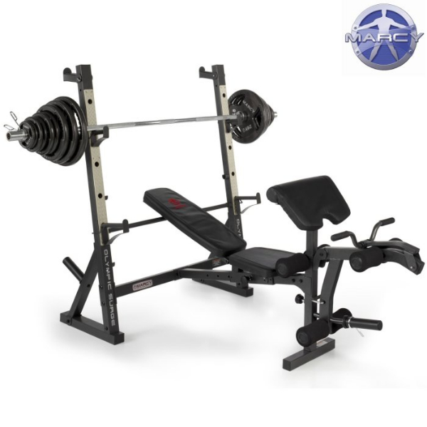 Marcy diamond elite olympic bench with 140kg olympic weight set Bench and weight set