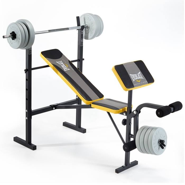 Everlast ev115 starter weight bench with 30kg vinyl weight set Weight bench and weights