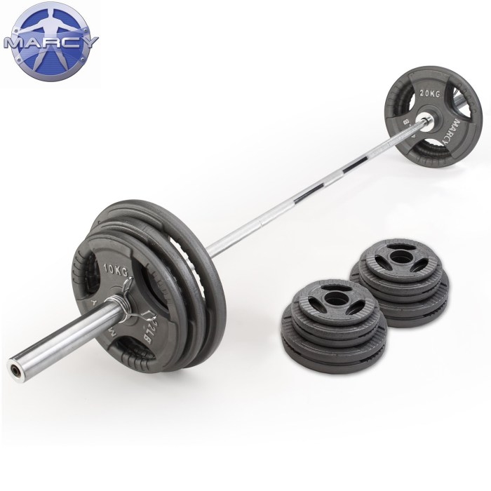 Marcy 140kg Olympic Tri-Grip Cast Iron Weight Plate Set