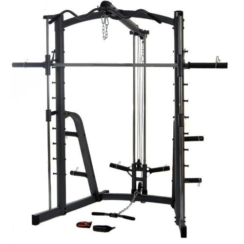 An example of a smith machine allowing a vertical range of motion