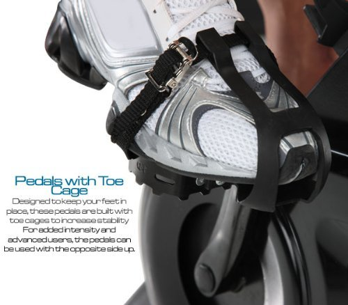 Toe cages and reversible foot pedals ensure your feet don't slip during your workouts