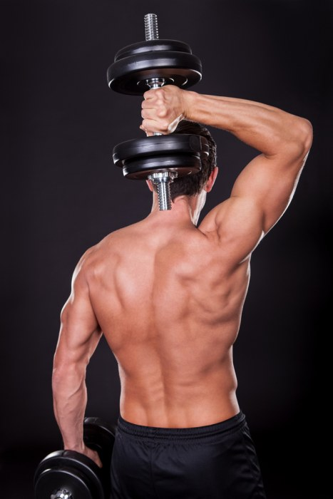 Overhead standing dumbbell tricep extension
