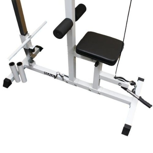 The low cable pulley is perfectly positioned for exercises such as shrugs and bicep curls