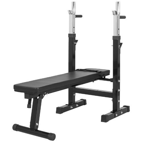 Gorilla Sports Weight Bench with Barbell Rack