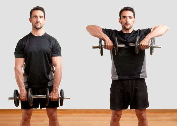 Upright dumbbell rows require much more control than the barbell version, but allow for much more wrist movement