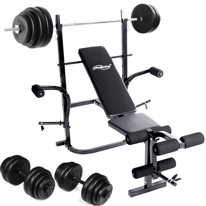 Physionics HNTLB01 Weight Bench With 90kg Weight Set