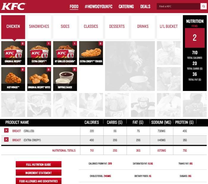 Fast food nutrition calculators