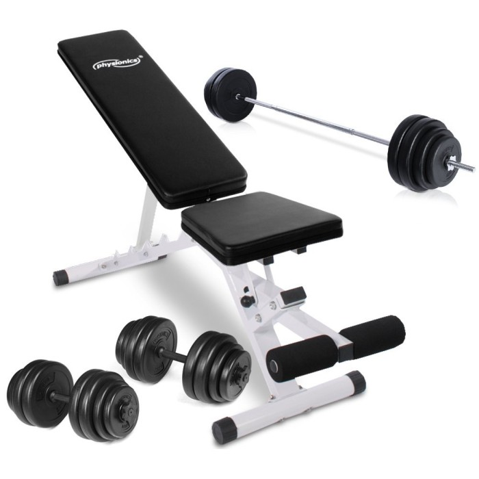 Physionics HNTLB03 Weight Bench + 90kg Weight Set