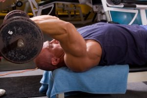 Lying tricep extensions make a great addition to a bicep and tricep superset workout